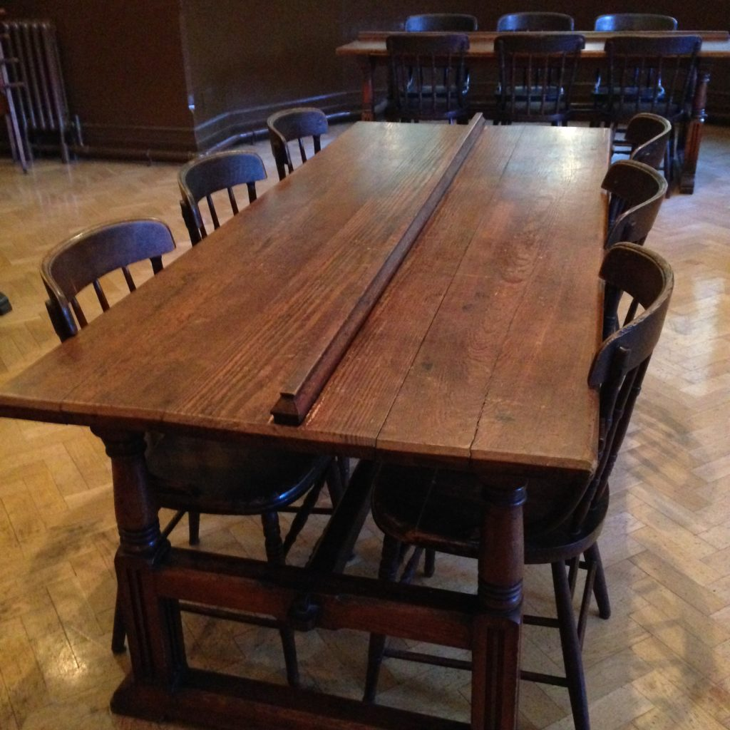 Historical wooden communal table