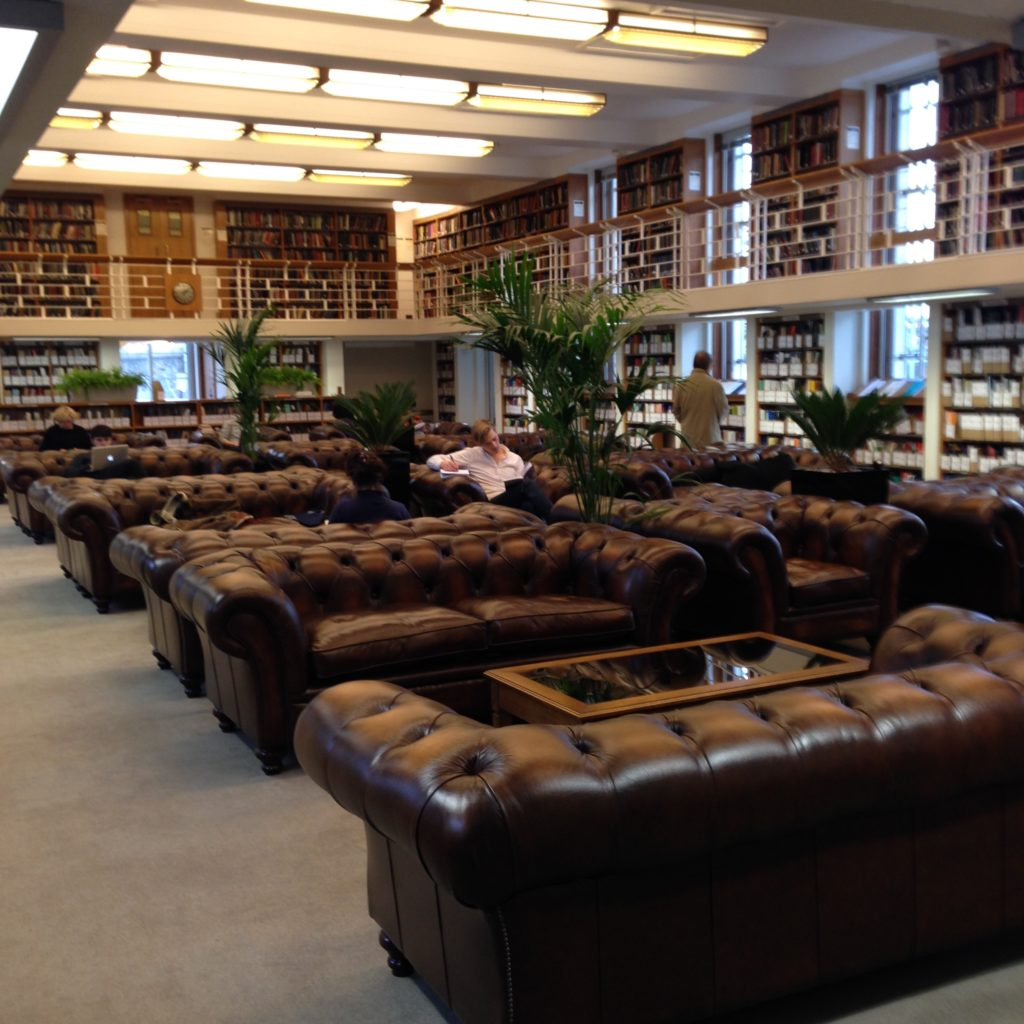 Big, tufted leather couches