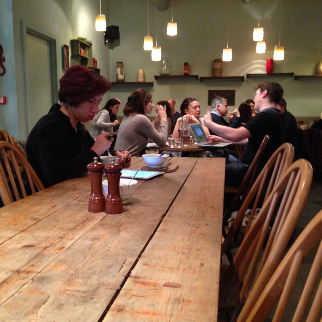 Long communal table and group tables